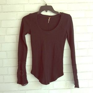 Free People Black Lace Thermal